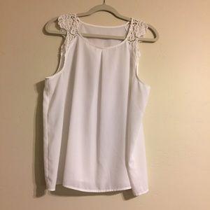Kensie lace shoulder tank top blouse